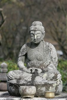 Meditative Buddha In Natural Setting Stock Photo