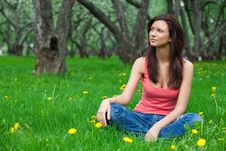 Free Beautiful Brunette Girl Sitting On Grass Royalty Free Stock Image - 14707146