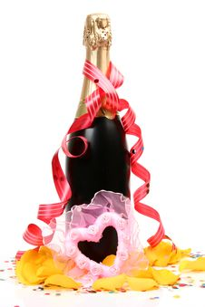 Champagne And Heart Stock Images