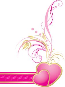 Pink Hearts With Decorative Sprig On The Ribbon Stock Image