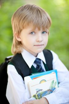 Free Boy With Books Outdoor Stock Photography - 14707472