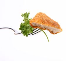 Piece Of Pork Chop With Parsley On A Fork Stock Photos