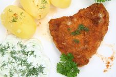 Pork Chop, Potatoes And Cucumber Salad Royalty Free Stock Photography