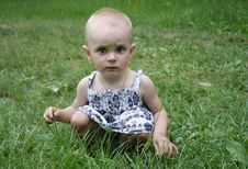 A Little Girl Sitting In The Grass Stock Photography