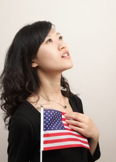 Free Young Lady With USA Flag Stock Photos - 14709023