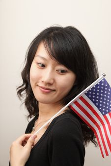 Free Young Lady With USA Flag Royalty Free Stock Photos - 14709378