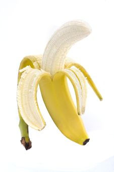 Free Half Peeled Banana Over White Stock Photos - 14709903