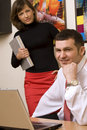 Free Two Colleagues Working In Office Stock Image - 14715841