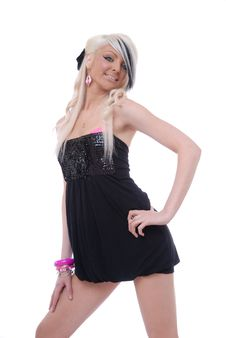 Free Sexy Young Blond Girl In Black Dress Royalty Free Stock Photography - 14710477