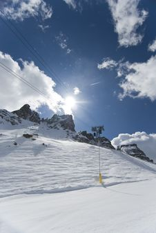Cable Car Along A  Skiing Slope. Royalty Free Stock Image