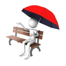 Free Man Holding Open Red Umbrella Royalty Free Stock Photography - 14710817