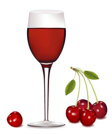 Free A Glass Of Red Wine With Cherries. Royalty Free Stock Photo - 14710905