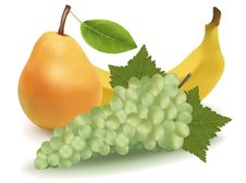 Free Banana, Pear And Green Grapes. Stock Photo - 14710920