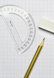 Free A Pencil, An Eraser And A Ruler Stock Images - 14711854