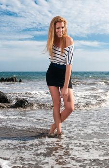 Free Naughty Girl At The Seaside Royalty Free Stock Photography - 14712197