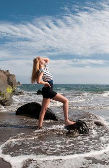 Free Blonde Girl Wearing Saylor Clothes At The Seaside Stock Photos - 14712213