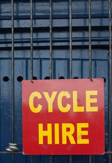 Free Cycle Hire Sign Royalty Free Stock Photography - 14712897