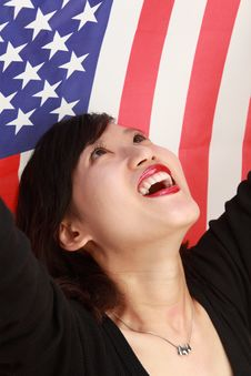 Free Young Lady With USA Flag Royalty Free Stock Photography - 14714817