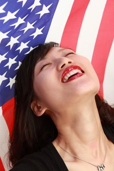 Free Young Lady With USA Flag Royalty Free Stock Photos - 14714828