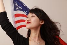 Free Young Lady With USA Flag Royalty Free Stock Photo - 14714835