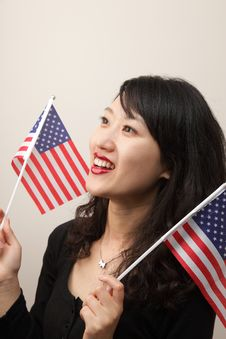 Free Young Lady With USA Flag Royalty Free Stock Photo - 14714845