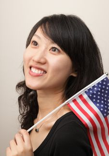Free Young Lady With USA Flag Royalty Free Stock Photos - 14714858