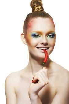 Free Young Woman With Red Pepper Royalty Free Stock Images - 14715179