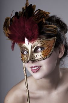 Free Beautiful Girl With A Carnival Mask Stock Photo - 14715360