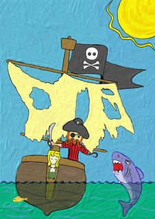 Free Crayon Painting Pirate In Boat Fighting Shark Stock Photos - 14715373