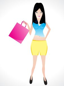 Shopping Girl With Shoping Bag Royalty Free Stock Images