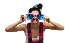 Free Girl Wearing Large Pink Eyeglasses Royalty Free Stock Image - 14715786