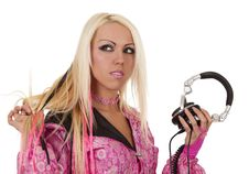 Blonde Dj In Pink Suit With A Headphone Royalty Free Stock Images
