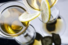 Martini With Olives And Lemon Slice Stock Image