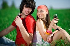 Free Girl In Kerchief And Boy With Wineglasses Stock Photos - 14716153