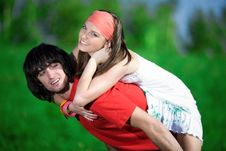 Free Long-haired Girl And Boy On Green Background Royalty Free Stock Photo - 14716275