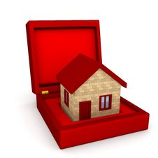 House In Box Over White Royalty Free Stock Images