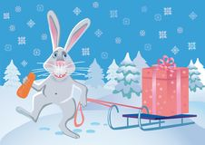 Free Merry Rabbit With A Gift. Stock Photography - 14717912
