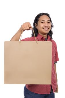 Free Long Hair Man With Paper Bag Royalty Free Stock Photo - 14718475