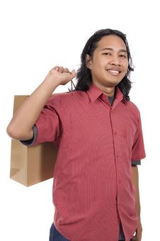 Free Long Hair Man With Paper Bag Royalty Free Stock Photos - 14718478