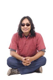 Long Hair Man Relax Stock Image