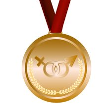 Free Gold Medal With Feminine And Masculine Signs Royalty Free Stock Image - 14718896
