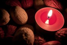 Candle Burning In The Dark Stock Photos
