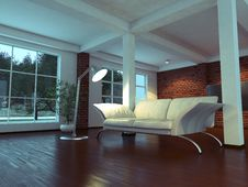 Free Modern Empty Interior With Plant And Sofa Royalty Free Stock Images - 14719549