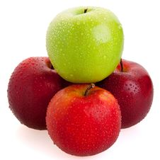 Free 3 Red And 1 Green Apples Stock Photo - 14719650