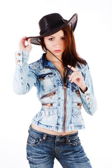Free Cowgirl In Denim Jacket Stock Photos - 14719773