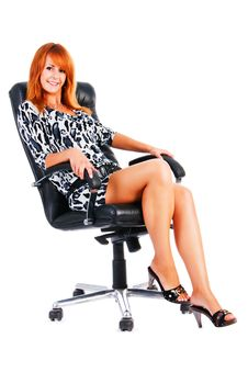 Free Charming Smile Girl Sits On Armchair Royalty Free Stock Photo - 14719785