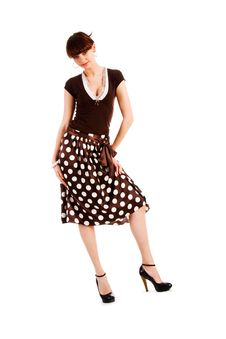 Free Alluring Young Girl In Spotted Skirt Royalty Free Stock Photography - 14719787