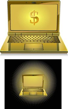 Free Golden Laptop Stock Photography - 14720042