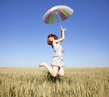 Free GIrl With Umbrella At Field Stock Images - 14720074