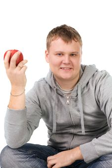 Free Young Man With Apple Royalty Free Stock Photography - 14720077